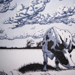 Artwork:  Cow Grazing in the Field