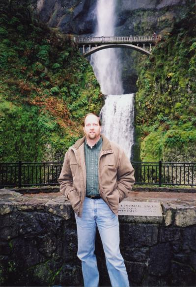 Photo of Anthony Wynn at Multnomah Falls.